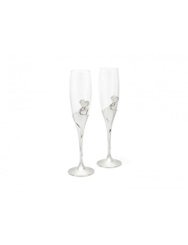 Champagne glazen Hart set van 2