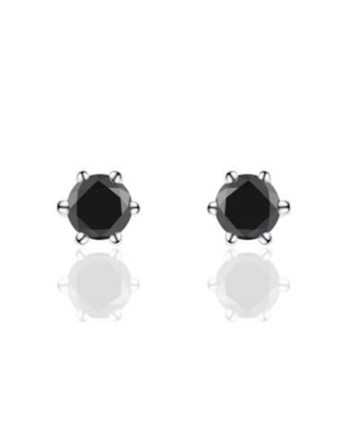 Zilveren Oorbel met Zwarte Zirkonia