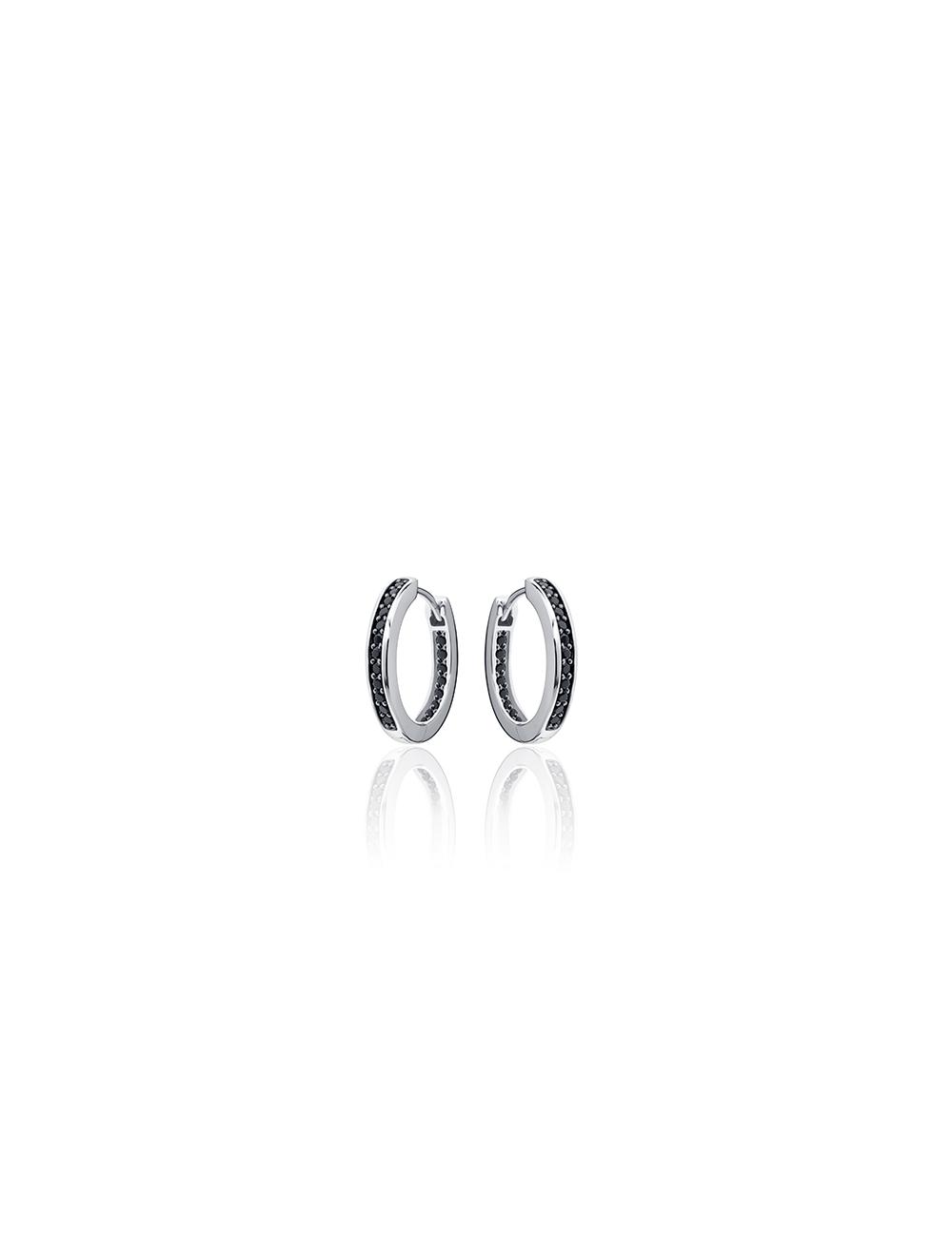 Zilveren klap creool met zwarte zirkonia