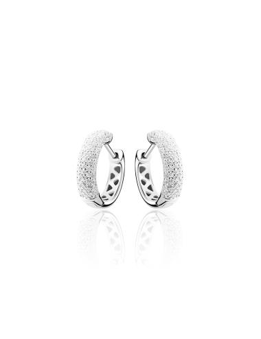 Zilveren Creool met Witte Zirkonia