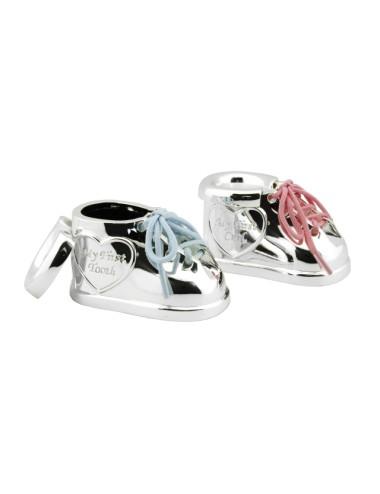 Tanden en haarlokdoosje Schoen met twee kleuren veters