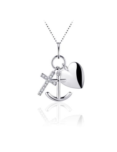 Zilveren Collier Hoop Geloof en Liefde