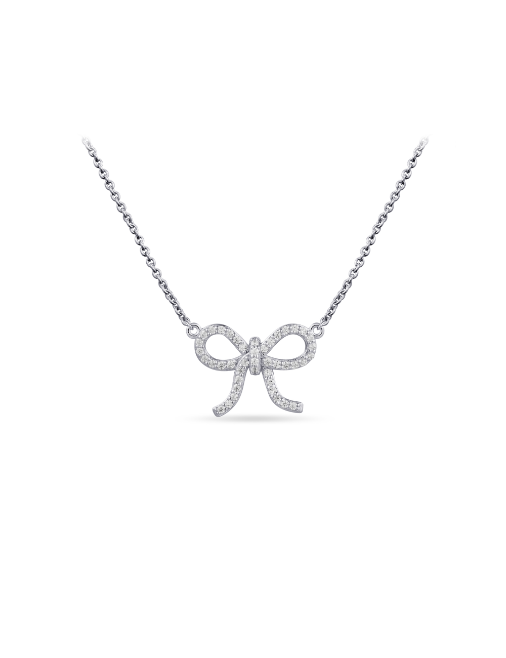 Zilveren  Collier Strikje met Zirkonia