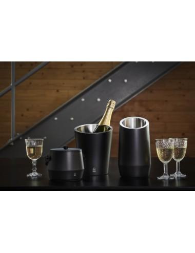 Wijnkoeler en ijsemmer dubbelwandig, RVS mat zwart